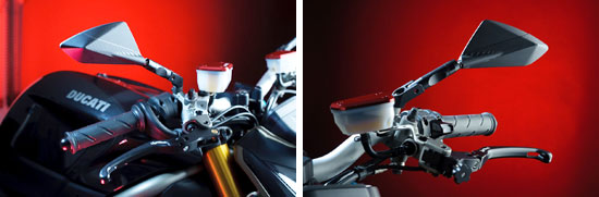 Lightech parts for Ducati. Mirrors, Reservoir Caps and Folding replacement levers (available in Kits).