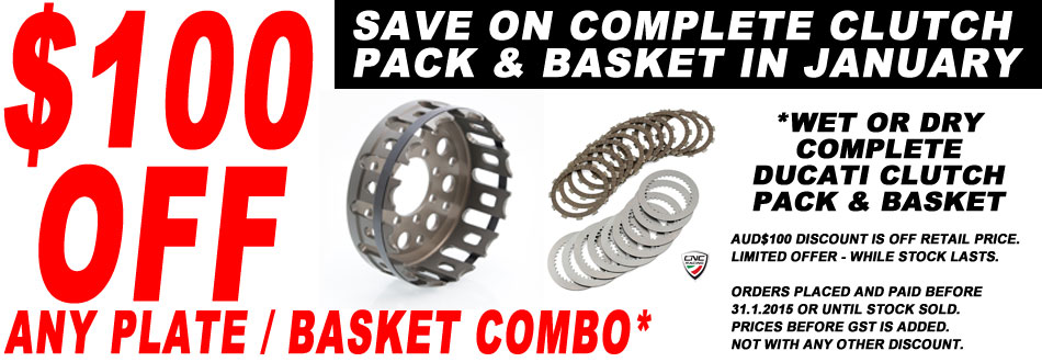 AUD$100 OFF any complete Clutch Pack and Basket Combined order in January 2015.